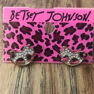 Betsey Johnson Rocking Horse Earrings With Bling